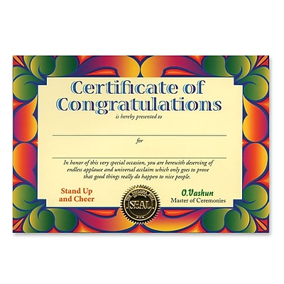 Beistle Certificate Of Congratulations, 5
