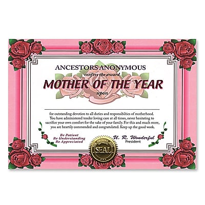 Beistle Mother Of The Year Certificate, 5