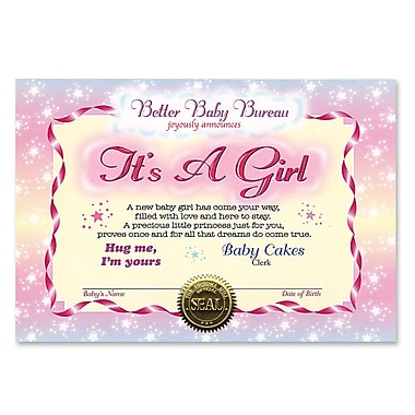 Certificat rouge rose « It's a Girl », 5 x 7 po, paquet de 7