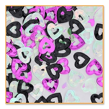 Pretty Black, Cerise, Opal Hearts Confetti, 5/Pack
