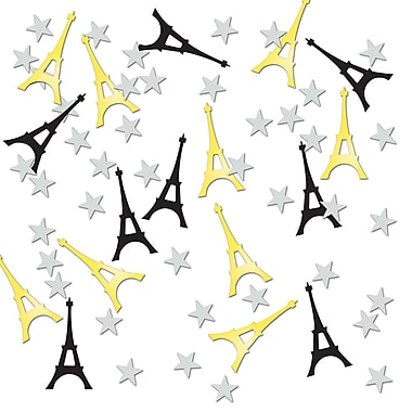 Beistle Eiffel Tower Confetti, Black/Gold/Silver, 5/Pack