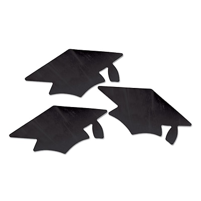 Beistle Metallic Grad Cap Cutouts, Black, 18/Pack