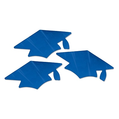 Beistle Metallic Grad Cap Cutouts, Blue, 18/Pack