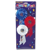 """Beistle 3 1/4"""" x 6 1/2"""" 1st 2nd 3rd Place Award Pack Rosette, 3/Pack"""