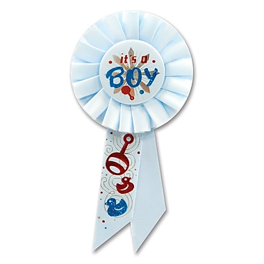 Rosette bleue « It's a Boy », 3 1/4 x 6 1/2 po, paquet de 3