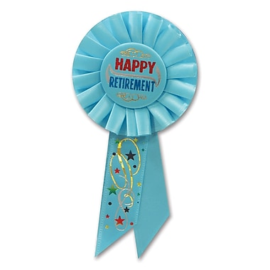 Rosette Happy Retirement, 3 1/4 x 6 1/2 po, 3/paquet