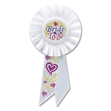 Rosette « Bride To Be », 3 1/4 x 6 1/2 po, paquet de 3