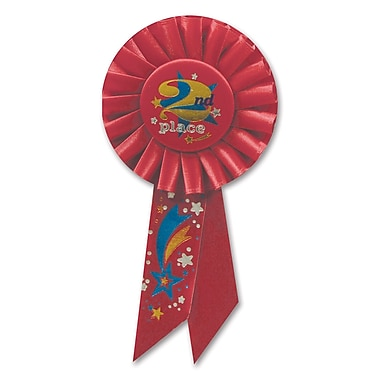 Rosette « 2nd Place », 3 1/4 x 6 1/2 po, paquet de 3