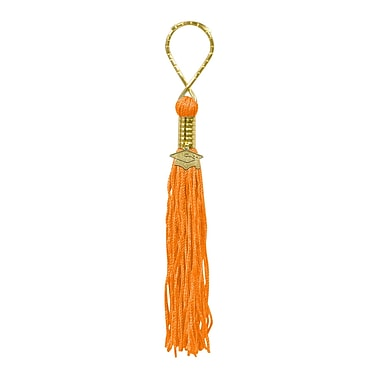 Tasseled Key Chain, Orange, 5/Pack
