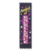 "Beistle 1 1/2"" x 6 1/4"" Award Of Excellence Value Pack Ribbon, Multicolor, 30/Pack"
