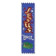 "Beistle 1 1/2"" x 6 1/4"" Jesus Loves Me Value Pack Ribbon, Blue, 3/Pack"