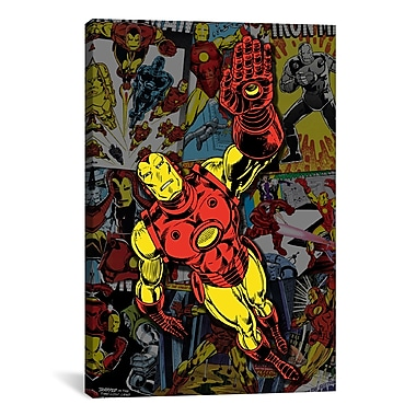 iCanvas Marvel Comics Iron Man Cover Collage Graphic Art on Canvas; 60'' H x 40'' W x 1.5'' D
