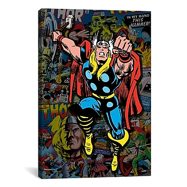 iCanvas Marvel Comics Thor Covers Collage #2 Graphic Art on Canvas; 18'' H x 12'' W x 0.75'' D