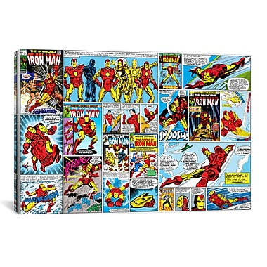 iCanvas Marvel Comics Iron Man Cover and Panel Graphic Art on Canvas; 26'' H x 40'' W x 1.5'' D