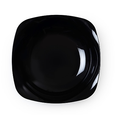 Renaissance Plastic Rounded Square China-Like Bowl, Black 12 Oz