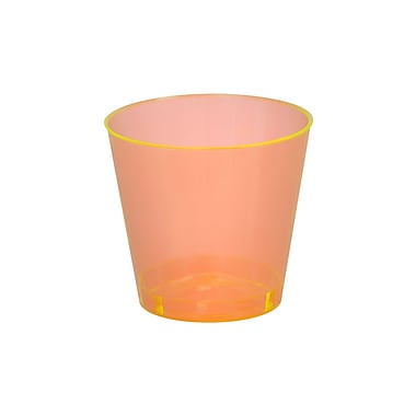 Savvi Serve Plastic Orange Neon Tumblers Shot Glass 1 Oz.