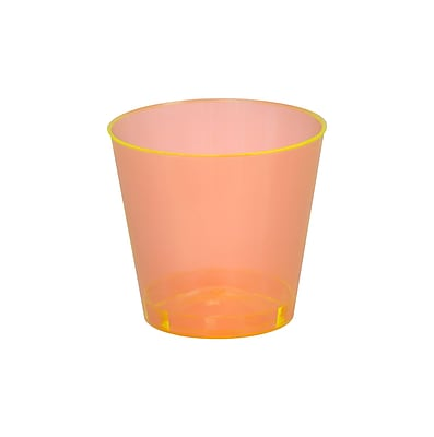Savvi Serve Plastic Orange Neon Tumbler Shot Glass 2 Oz.
