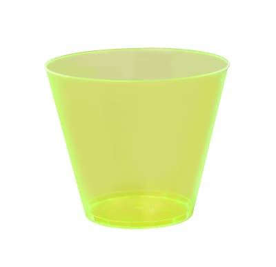 Savvi Serve Plastic quat Neon Yellow Hard Plastic Tumbler 9 Oz.