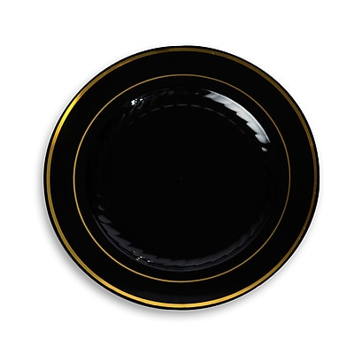 Silver Splendor Plastic Black With Gold Round China Like Plate 10