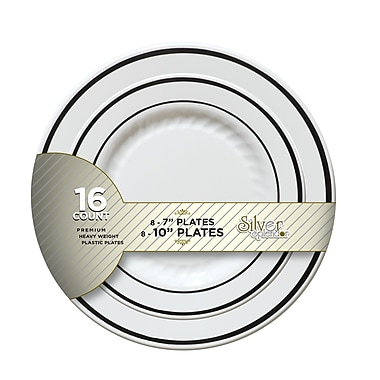 Silver Splendor Recyclable Plastic White With Silver Round China-Like Plate 7