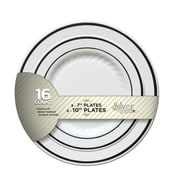 Silver Splendor Recyclable Plastic White With Silver Round China-Like Plate 7""