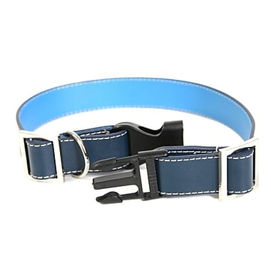 Royce Leather Small-Medium Two-Toned Dog Collar, Royce Blue, Silver Foil Stamping, 3 Initials