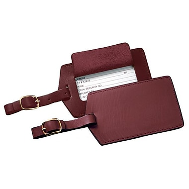 Royce Leather Classic Leather Luggage Tag, Burgundy, Silver Foil Stamping, 3 Initials