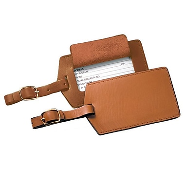 Royce Leather Classic Leather Luggage Tag, Tan, Silver Foil Stamping, Full Name