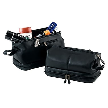Royce Leather Toiletry Bag with Zippered Bottom Compartment, Black, Silver Foil Stamping, Full Name
