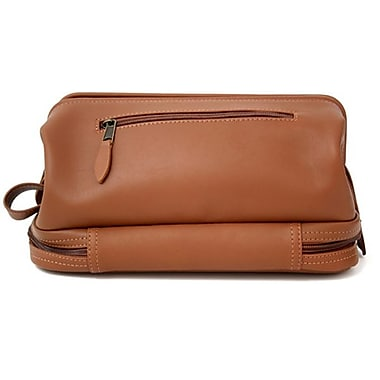 Royce Leather Toiletry Bag with Zippered Bottom Compartment, Tan, Debossing, Full Name