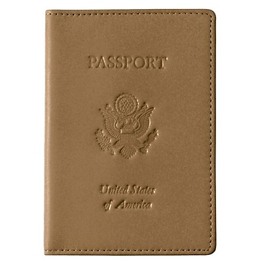 Royce Leather Debossed Passport Jacket, Tan, Gold Foil Stamping, 3 Initials
