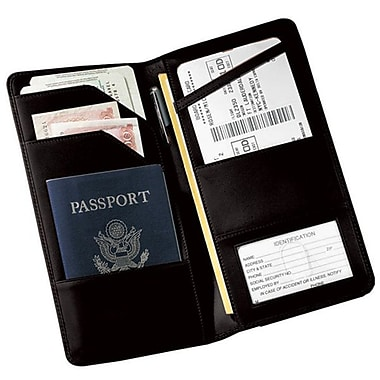 Royce Leather Checkpoint Passport Wallet, Black, Debossing, 3 Initials