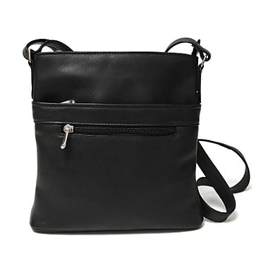 Royce Leather Vaquetta Triple Zip Crossbody Bag, Black, Silver Foil Stamping, Full Name