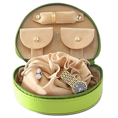 Royce Leather Mini Jewellery Case, Key Lime Green, Gold Foil Stamping, 3 Initials