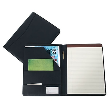 Royce Leather Classic Padfolio, Blue, Silver Foil Stamping, Full Name