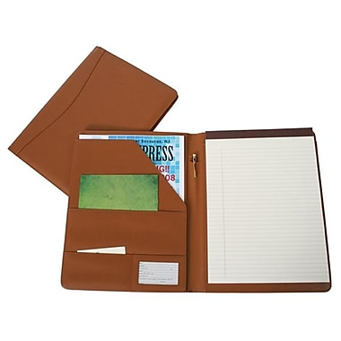 Royce Leather – Porte-document classique, havane, estampage argenté, 3 initiales
