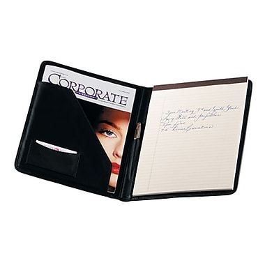 Royce Leather Writing Large Padfolio, Black, Silver Foil Stamping, Full Name