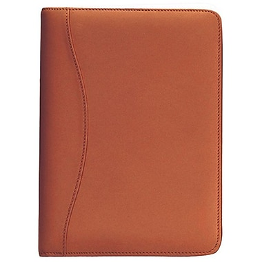 Royce Leather – Porte-document d'écriture junior, havane (743-TAN-5), estampage argenté, nom complet