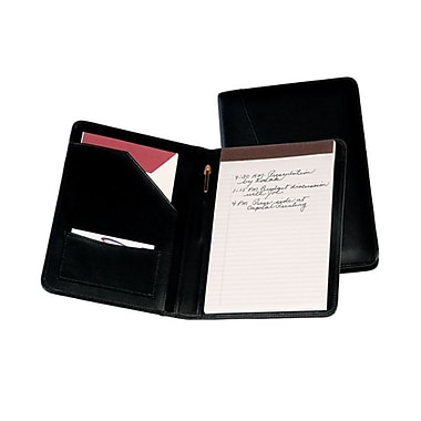 Royce Leather Junior Writing Padfolio, Black, Silver Foil Stamping, 3 Initials