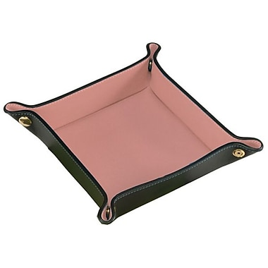 Royce Leather Suede Valet Tray, Burgundy, Gold Foil Stamping, 3 Initials