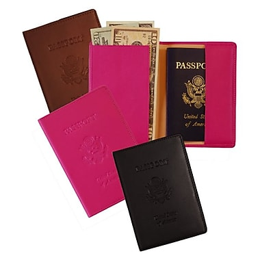 Royce Leather RFID Blocking Debossed Passport Jacket, Wildberry, Gold Foil Stamping, 3 Initials