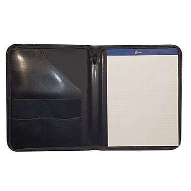 Royce Leather Zip Around Writing Leather Padfolio, Black (746-BLK-AR), Silver Foil Stamping, Full Name