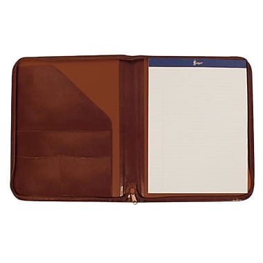 Royce Leather – Porte-documents à fermeture éclair, havane, estampage argenté, nom complet