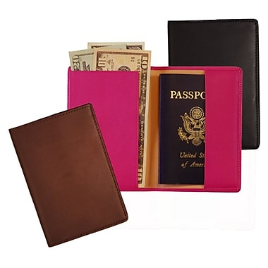 Royce Leather – Étui à passeport avec protection RFID, noir, estampage or, 3 initiales