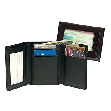 Royce Leather Men's Tri-Fold Wallet with Double ID Window, Black, Silver Foil Stamping, 3 Initials