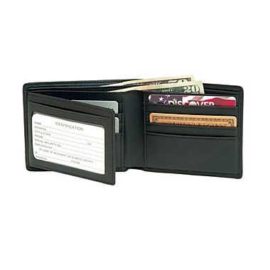 Royce Leather Men's Bi-Fold Wallet with Double ID Flap, Black, Silver Foil Stamping, 3 Initials