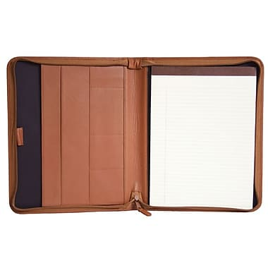 Royce Leather – Porte-documents à fermeture éclair convertible en cuir, havane, estampage or, nom complet