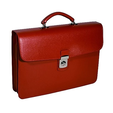 Royce Leather Single Gusset Briefcase, Red, Debossing, Full Name