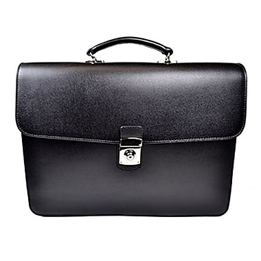 Royce Leather Double Gusset Briefcase, Black, Gold Foil Stamping, 3 Initials