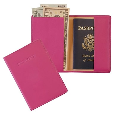 Royce Leather RFID Blocking Passport Jacket, Wildberry (RFID-203-WB-5), Debossing, 3 Initials